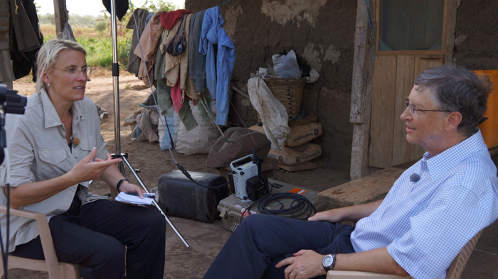 Bill Gates: With the 60 Minutes crew in Ghana