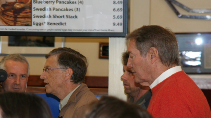 Bill Gates: With Charlie Rose at one of my favorite burger places.