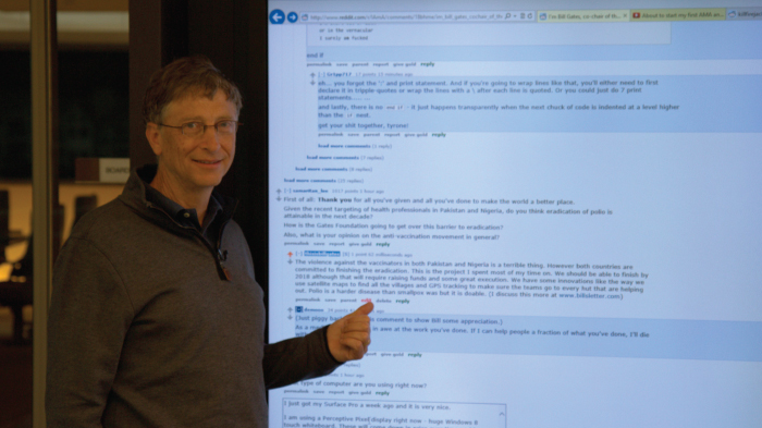 Bill Gates answering questions on his AMA | GatesNotes.com The Blog of Bill Gates
