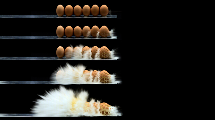 Still Frames of Eggs Being Shot by Rifle