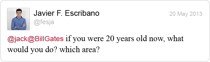 Twitter question for Bill Gates: 20 years old