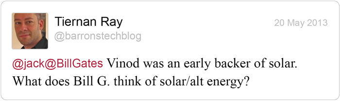 Twitter question for Bill Gates: Solar
