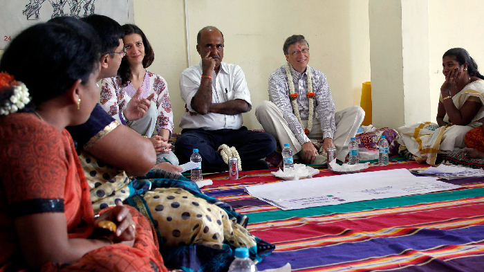 Bill Gates visits a Bangalore community center called Swathi's House