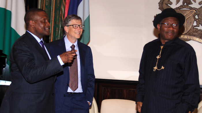 Bill Gates and Aliko Dangote with Nigerian President Goodluck Jonathan. November, 2013.