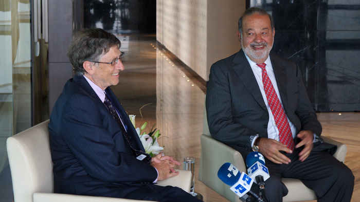 Bill Gates and Carlos Slim at the Global Vaccine Summit in Abu Dhabi