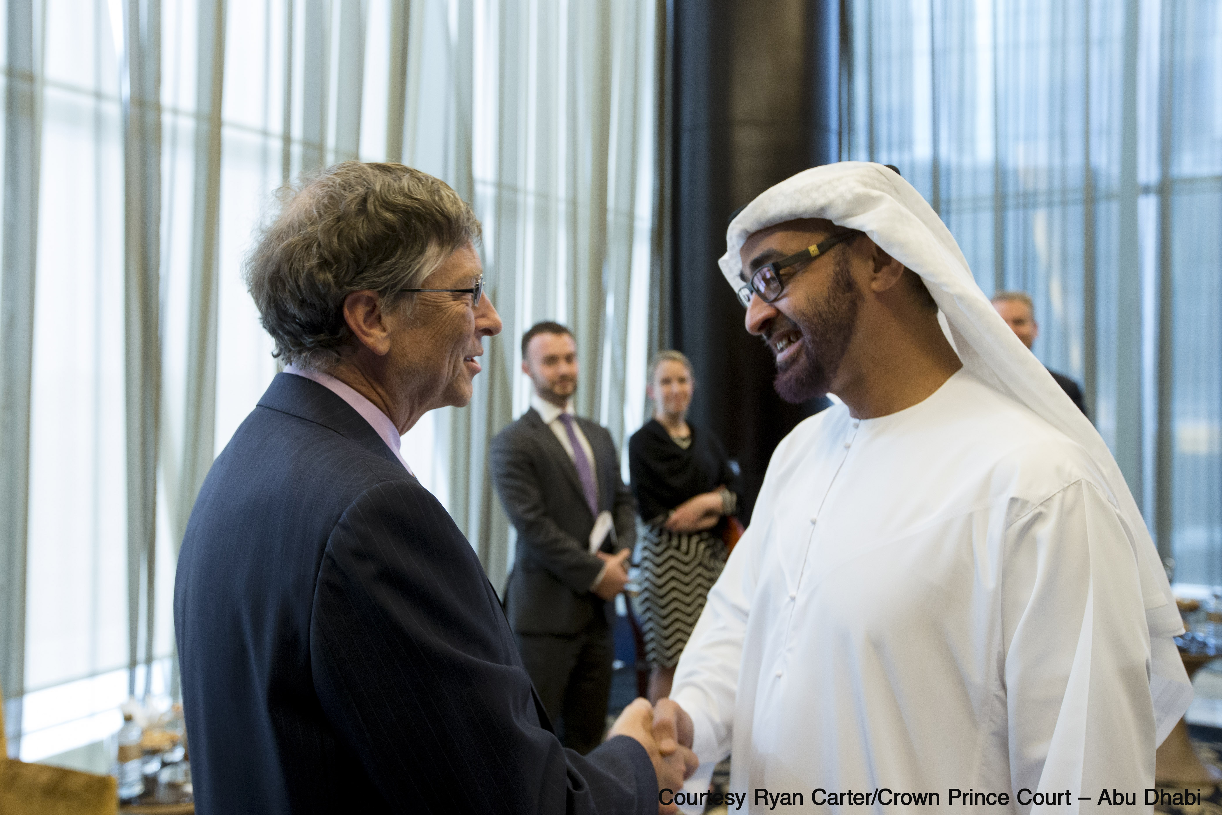 Bill Gates and His Highness General Sheikh Mohamed bin Zayed Al Nahyan, Crown Prince of Abu Dhabi, at the Global Vaccine Summit