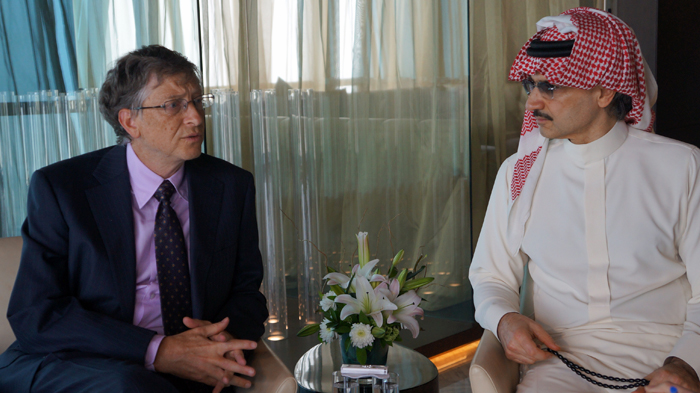 Bill Gates and His Royal Highness Alwaleed bin Talal at the Global Vaccine Summit in Abu Dhabi