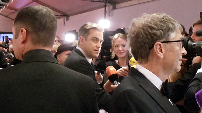 Bill Gates and Robbie Williams in Berlin, November 2013