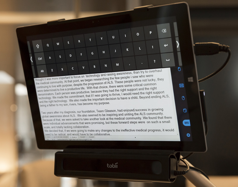 Steve Gleason's Microsoft Surface tablet used as a speech synthesizer | GatesNotes.com The Blog of Bill Gates