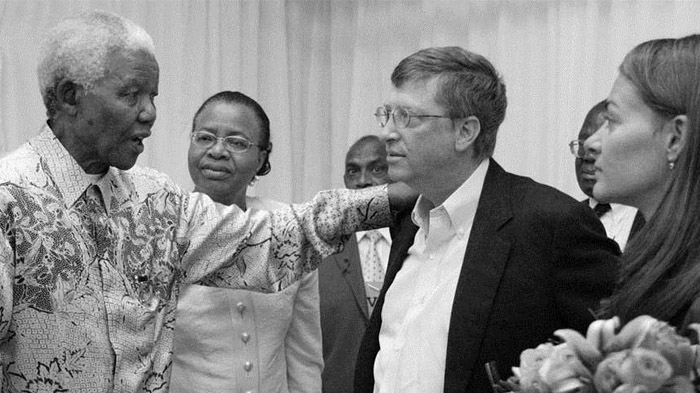 Bill and Melinda Gates Meet with Nelson Mandela (B&W)