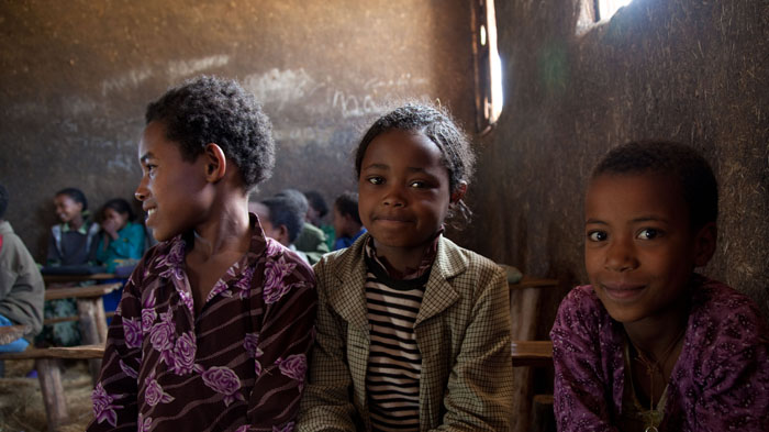Girls attending school in Ethiopia