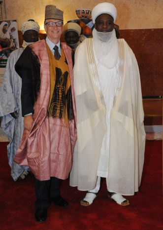 Bill Gates Wearing Traditional Robe and Hat, Gifts from His Eminence, the Sultan of Sokoto. November, 2013.