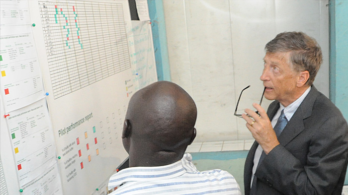 Bill Gates visits the Lagos State Cold Store, Nigeria. November, 2013.
