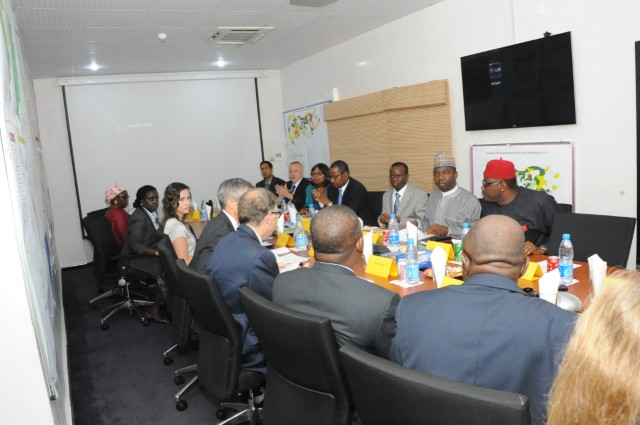Bill Gates and Aliko Dangote at the Polio Emergency Operations Centre in Abuja, Nigeria. November, 2013